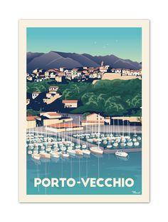 """€25. Affiche Illustration Originale Porto-Vecchio """"Le Port"""" . Papier 350g/m² Couché finition Mat"""