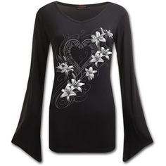 PURE OF HEART V Neck Goth Sleeve Top