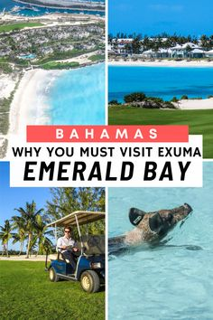 """Exuma Bahamas is home to the stunning tropical oasis """"Emerald Bay"""". Located on Great Exuma and close to Georgetown (Exuma's main airport), Emerald Bay is home to two the top Bahamas Resorts: Sandals Resort and Grand Isle Resort. With a stunning 18 hole championship golf course and a stunning white sand beach, Emerald Bay Exuma, is one of the top destinations outside of Nassau. #exuma #bahamas Bahamas Resorts, Exuma Bahamas, Nassau, Vacation Trips, Vacation Spots, Emerald Bay Bahamas, Grand Isle, Bahamas Island, Travel"""
