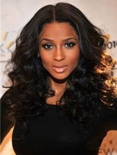 Super Hot Ciara Hairstyle 100% Indian Human Hair About 20 Inches Big Curly Black Glueless Lace Front Wig