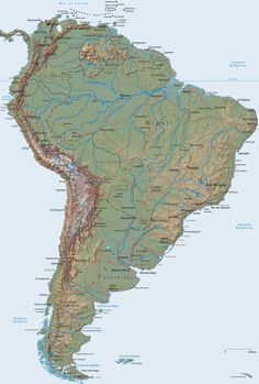 A complete map of the South America is shown, including maps of countries Brazil, Argentina and Uruguay Atlantic Ocean, Pacific Ocean, South America Map, Global Map, Chile, Physical Geography, Alternate History, Antique Maps, Caribbean