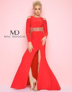 e973a69c68d Flash by Mac Duggal Long sleeve gown with wide beaded waistband featuring  cut outs at the midriff and the shoulders. Available in White Hot and  Intense Red