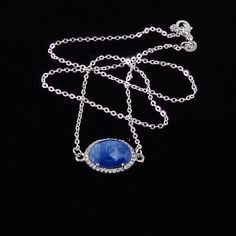 Sapphire Pave Necklace/ blue/ Sapphire/ gemstone/ pave/ necklace/ Sterling Silver/ pave/ haute couture/ jewelry