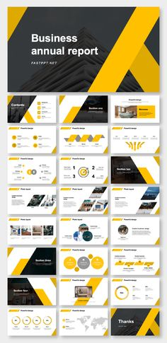 Black & Yellow Annual Report Presentation Template - The most creative designs Powerpoint Free, Powerpoint Design Templates, Keynote Template, Report Template, Presentation Board Design, Business Presentation Templates, Presentation Slides, Web Design, Urban Design
