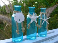 Shabby Chic Coastal Cottage Tiffany Blue Glass Bottles-SEA LIFE TRIO-Mother's Day, Beach Home Decor, Seashore, Starfish and Sand Dollar Home