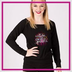 Don't Let Anyone Dull Your Sparkle! Fashion Bling Long Sleeve Lace Back Shirt with Rhinestone Logo