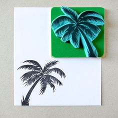 Rubber stamp of a tropical Palm tree hand carved by CassaStamps