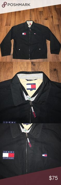 Vintage Medium Tommy Hilfiger Bomber Jacket Black Excellent condition Tommy Hilfiger Jackets & Coats Bomber & Varsity