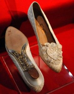 Princess Diana's wedding shoes, handmade with painted soles.