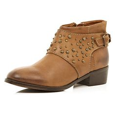 Brown stud buckle ankle boots £65.00