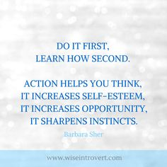 Barbara Sher quote, do it first, learn how second