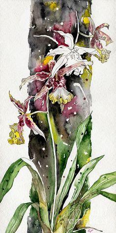 Flower ORCHID 03 Elena Yakubovich Painting  - Flower ORCHID 03 Elena Yakubovich Fine Art Print