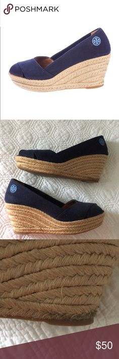 b407f7ed22fec2 Shop Women s Tory Burch Blue size 9 Shoes at a discounted price at  Poshmark. Description  great used condition navy blue tory burch wedges!