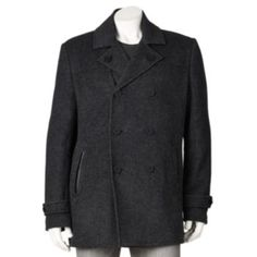 Marc Anthony Slim-Fit Double-Breasted Wool-Blend Peacoat - Men