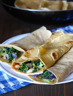 Kale & Cheddar Whole Wheat Crepes Wrap Recipes, Lunch Recipes, Dinner Recipes, Breakfast Recipes, Fast Easy Meals, Easy Weeknight Meals, Easy Healthy Recipes, Real Food Recipes, Healthy Meals