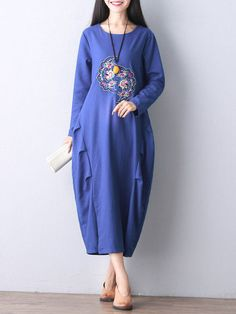 78f7112d66 Women Embroidery Long Sleeve O-Neck Vintage Loose Dress Hosszú Ujjú,  Hímzés, Anarkali