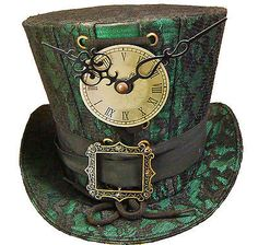 Steampunk Madhatter Hand Made Green Black Lace Top Hat | eBay