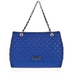 LOVE MOSCHINO JC4252 Woman Large Shoulder Bag in Blue Quilted Ecoleather