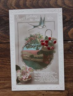 Vintage Postcard Wife Birthday Flowers and Swallow Embossed Real Photographic    eBay