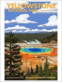 Yellowstone National Park - Grand Prismatic Spring (9x12 Art Print Wall Decor) Lantern Press http://www.amazon.com/dp/B00N5CHK1M/ref=cm_sw_r_pi_dp_ruwQvb15ZWVFF