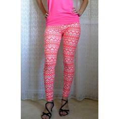 Womens Yoga Leggings Aztec Print Leggings Neon Leggings Orange White... ($20) ❤ liked on Polyvore featuring pants, leggings, black, women's clothing, black leggings, white leggings, neon leggings, yoga leggings and patterned leggings