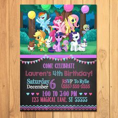 My Little Pony Invitation Chalkboard 2 * My Little Pony Birthday * My Little Pony Printables * My Little Pony Favors Invitaciones My Little Pony, Cumple My Little Pony, Little Pony Cake, My Little Pony Birthday Party, 5th Birthday Party Ideas, Unicorn Birthday Parties, 3rd Birthday, My Little Pony Invitations, Party Time