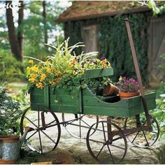 small wagon with flowers