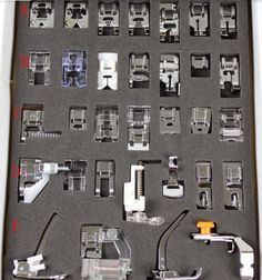 Tinksky Domestic Sewing Machine Presser Foot Set for Brother Babylock New Home Janome Elna Toyata Singer NewHome Sewing Basics, Sewing Hacks, Sewing Crafts, Sewing Projects, Basic Sewing, Learn Sewing, Sewing Tips, Sewing Machine Presser Foot, Sewing Machine Parts