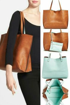 Reversible faux leather bag.