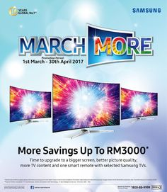Hi everyone! LetsSave up to RM3000 as Samsung offers March More Great Deals!  Among all the electronics products you own at home the television is that one innovation we live for years before getting an upgrade and with the rapid advancements of technology TVs can do so much more now than ever before. So if your TV is older than 6 years perhaps it is time for an upgrade as Samsung Malaysia Electronics brings you the March More promotion which offers savings up to RM3000 and free soundbars on…