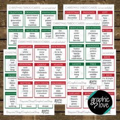 Christmas Party/Holiday Taboo Game 54 Cards - PDF - Instant Download - Printable by GraphicLoveShop on Etsy