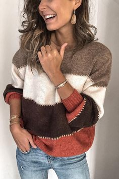 Casual Color-block Crew Neck Sweater – immorgo Casual Sweaters, Pullover Sweaters, Sweaters For Women, Women's Sweaters, Crewneck Sweater, Winter Sweaters, Loose Sweater, Long Sleeve Sweater, Jean Vintage
