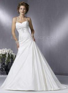 Ligne A bustier en coeur bretelles fines perlé taffetas robe de mariée pas chère