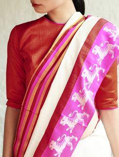 fe2ecb01e2c14 Nahar White-Fuschia Cotton-Silk Saree By Raw Mango