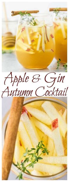 Apple & Gin Autumn Cocktail – No Spoon Necessary - Thanksgiving Drinks Cranberry Cocktail, Cocktail Gin, Apple Cider Cocktail, Cider Cocktails, Fall Cocktails, Fall Drinks, Apple Cocktails, Bourbon Drinks, Thanksgiving Cocktails