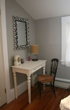 sherwin williams light french gray this is such a great gray nice dressing table set up.. mirror, table and chairs