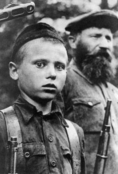 "Russian Young Partizan Peter Gurko from detachment ""za Vlast Sovetov"". 1942"