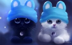 HD Ying and Yang Cats Wallpaper Screensavers