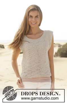 """Knitted DROPS top in garter st with wave pattern in """"Bomull-Lin"""" or """"Paris"""". Size: XS - XXXL. ~ DROPS Design"""