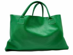 large leather tote- green