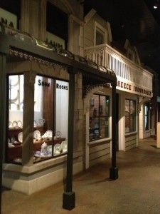 Recreation of a street full of shops in the Victorian times. In Canterbury Museum, Christchurch.