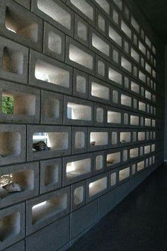 15 Breeze Rock Wall Ideas for Stylish House The breeze rock wall which first produced in is not only good for exterior but also interior. So, we present you 15 breeze rock wall ideas for house Decorative Concrete Blocks, Concrete Block Walls, Cinder Block Walls, Concrete Cement, Cinder Blocks, Cinder Block Ideas, Cement Garden, Architecture Restaurant, Brick Architecture