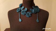 Crochet Rose Necklace,Crochet Neck Accessory, Flower Necklace, Biscay Bay Colour,Turquoise, 100% Cotton.