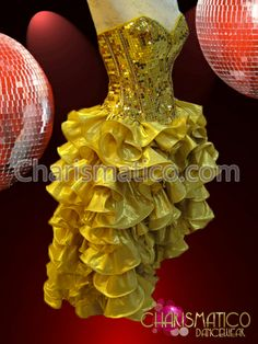 Charismatico Dancewear Store - CHARISMATICO Metallic sequined Gold Corset with matching Gold ruffle skirt dress, $220.00 (http://www.charismatico-dancewear.com/products/Metallic-sequined-Gold-Corset-with-matching-Gold-ruffle-skirt-dress.html)
