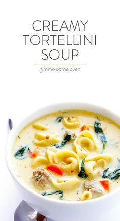 Creamy Tortellini and Sausage Soup is part of Creamy Tortellini Soup With Italian Sausage Gimme Some Oven - This Creamy Tortellini and Sausage Soup is quick and easy to make, full of great flavor, and so rich and creamy and comforting Gourmet Recipes, Crockpot Recipes, Soup Recipes, Cooking Recipes, Healthy Recipes, Healthy Dishes, Cooking Ideas, Fall Recipes, Chicken Recipes