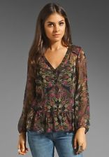 $168 NWT(XS) Ella Moss Regency Floral Silk Print Sheer Henley Blouse Top (In-45)