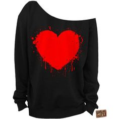 Valentine's Day Shirt Heart Slouchy Sweatshirt Grunge Splatter Heart... ($25) ❤ liked on Polyvore featuring tops, hoodies, sweatshirts, dark olive, women's clothing, red off the shoulder top, off the shoulder tops, off shoulder tops, olive green shirt and slouchy sweatshirt