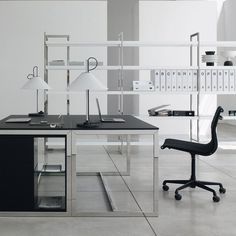 Quadra Glass And Metal Desk By Gallotti And Radice   Klarity