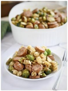 Roasted Brussels Sprout  Chicken Sausage Pasta