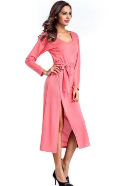 Shoespie Belt Split Elegant Women's Maxi Dress
